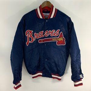 Vintage Starter Atlanta Braves Satin Bomber Jacket